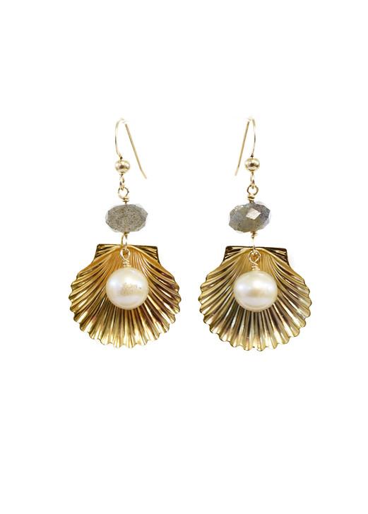 Marina Shell Earrings- Labradorite