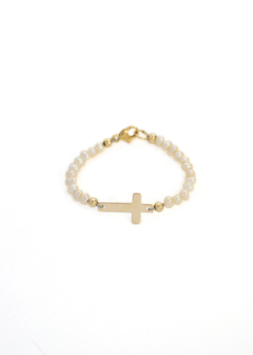 Little Girl Pearl Cross Bracelet- Gold