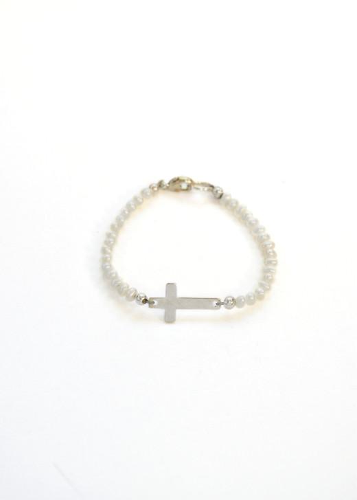 Little Girl Pearl Cross Bracelet- Silver