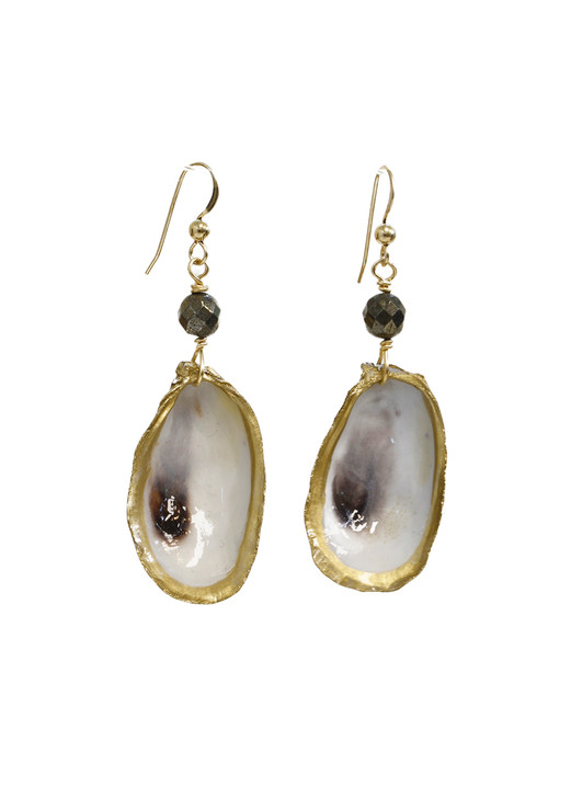 Lowcountry Oyster Earrings- Pyrite