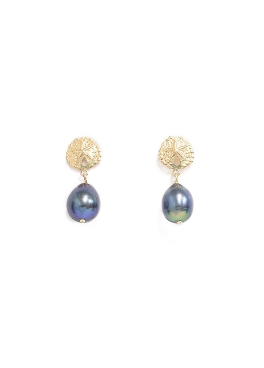 Sullivan Sand Dollar Earrings- Peacock Pearl