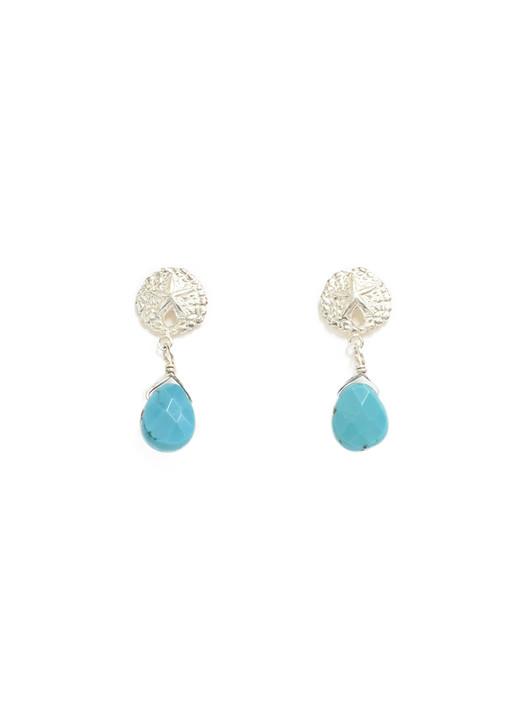 Sullivan Sand Dollar Earrings- Turquoise