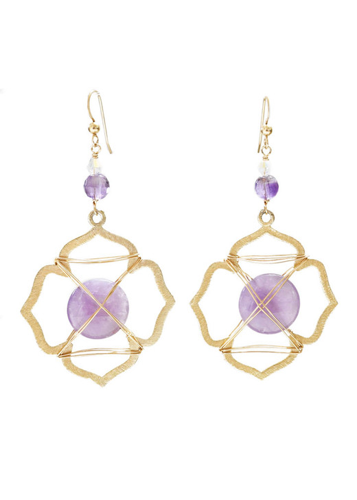 Caged Amethyst Earrings- Gold