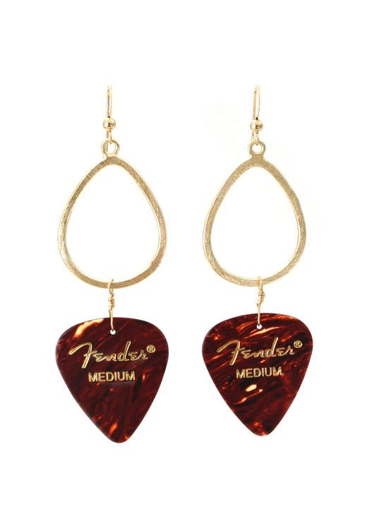 Tortoiseshell Fender Guitar Pick Earrings