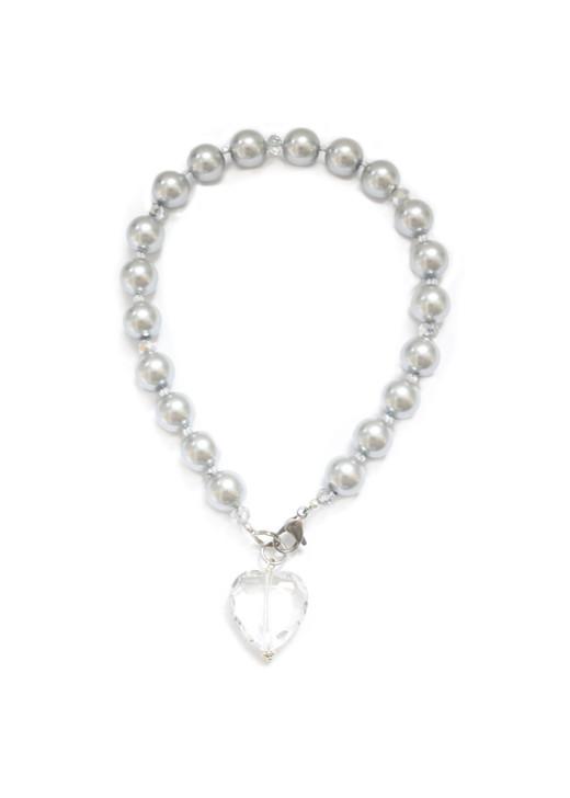Gray Pearl Dog Collar with Crystal Pendant
