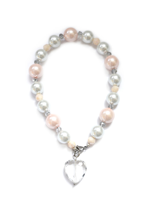 White and Pink Pearl Dog Collar with Crystal Heart