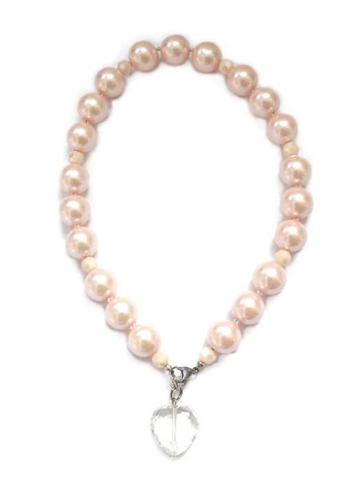 Pink Pearl Dog Collar with Crystal Heart