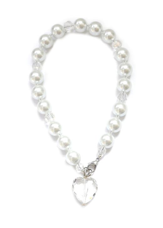 White Pearl Dog Collar with Crystal Heart