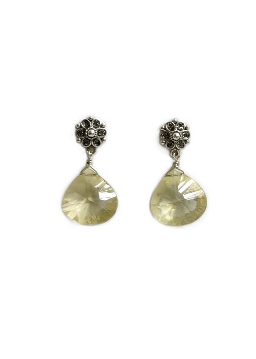 Celia Citrine Earrings- Silver