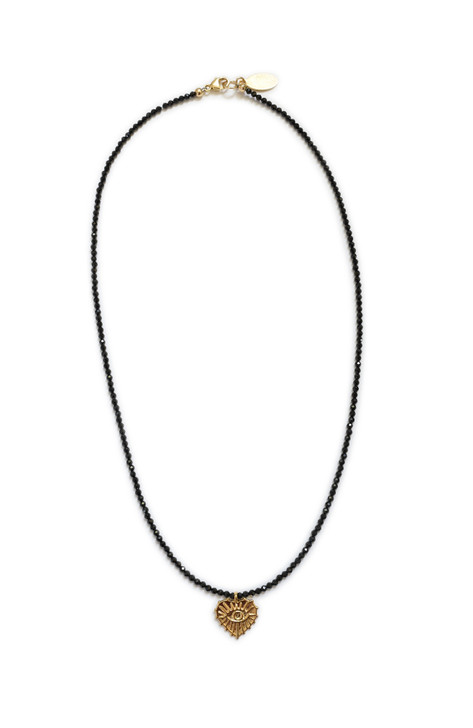 Love Protector Necklace- Black Spinel
