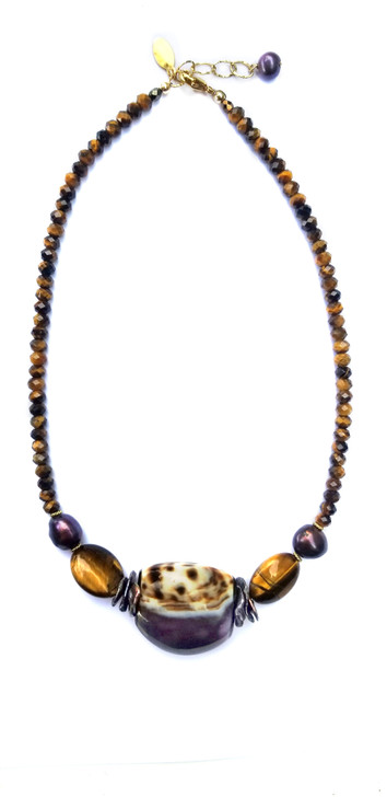 Cowrie and Tigers Eye Necklace
