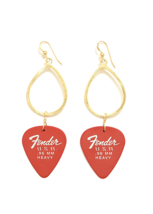Red Fender Guitar Pick Hoop Earrings- Gold