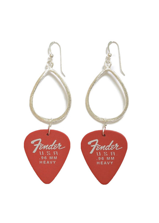 Red Fender Guitar Pick Earrings- Silver