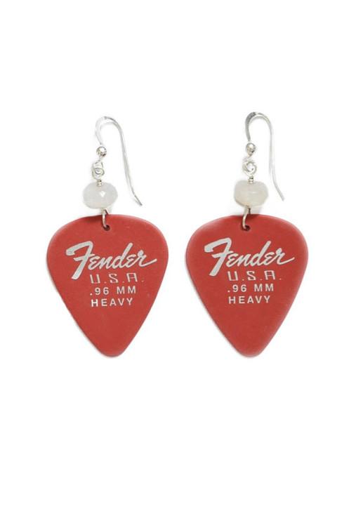 Fender Guitar Pick Earrings- Red