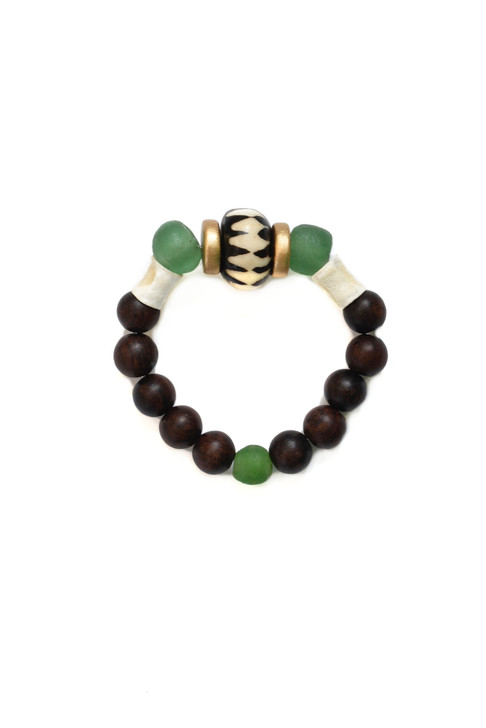 Batik Wooden Bracelet- Green Glass