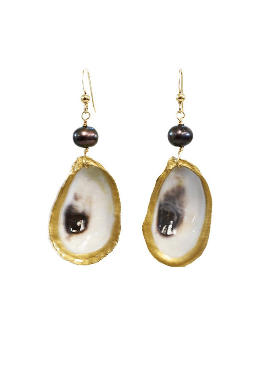 Lowcountry Oyster Earrings- Peacock Pearl
