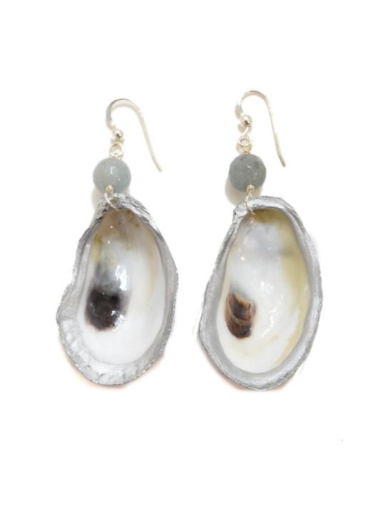 Lowcountry Oyster Earrings- Aquamarine