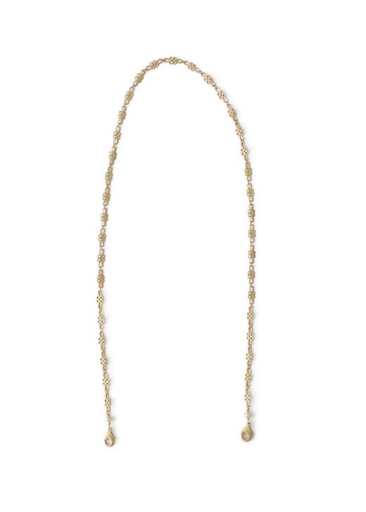 Delicate Floral Mask Chain- Matte Gold