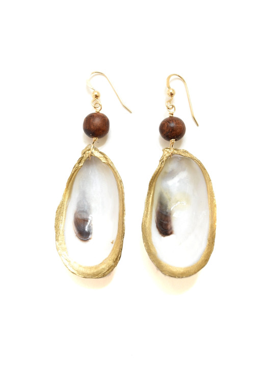 Lowcountry Oyster Earrings- Wooden