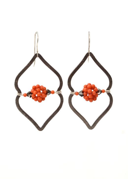 Sahara Earrings- Gunmetal and coral