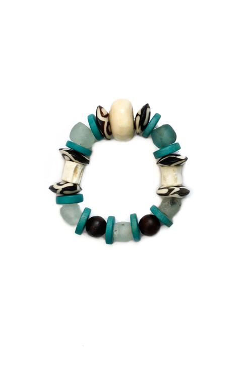 Batik Sea glass Bracelet- Turquoise