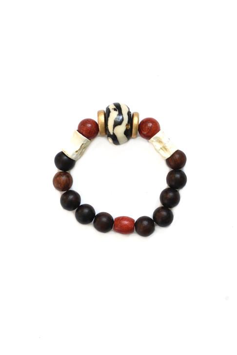 Batik Wooden Bracelet- Coral