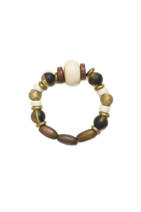 Batik Wood and Brass Bracelet