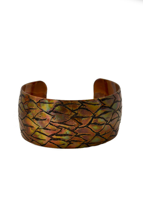 Layered Leaves Etched Cuff