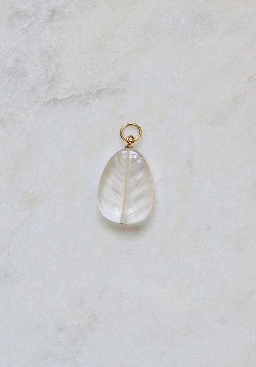 Carved Quartz Leaf Necklace Charm