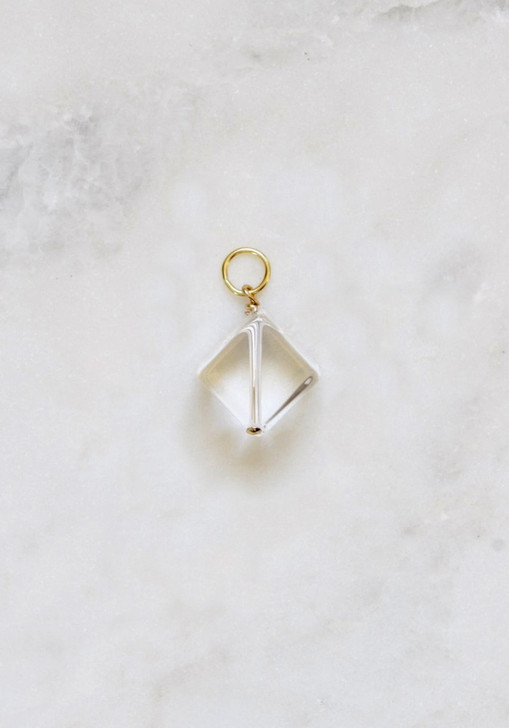 Clear Cube Necklace Charm