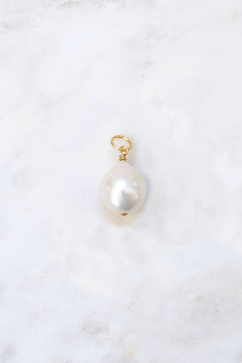 White Baroque Pearl Necklace Charm