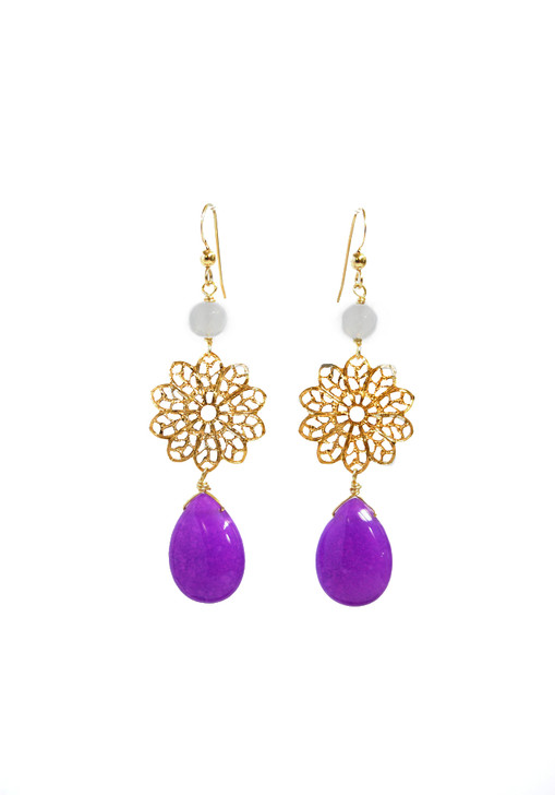 Purple + Opalite Filigree Earrings