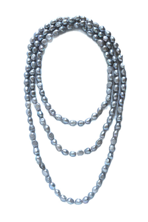 Knotted Pearl Necklace- Silver