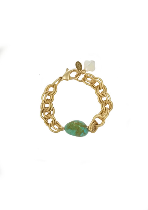 Matte Gold Chunky Chain Bracelet- Turquoise