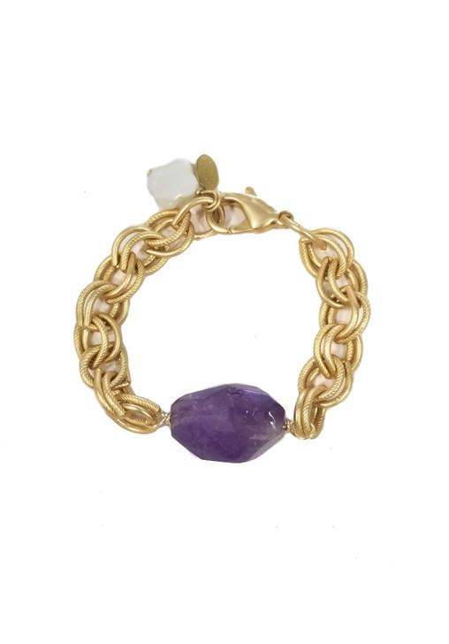 Matte Gold Chunky Chain Bracelet- Amethyst