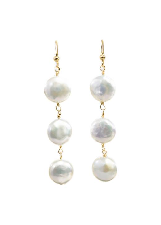 Classic Coin Pearl Earrings
