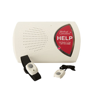 home medical alert system console with two medical alert buttons