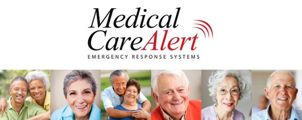 Medical Care Alert Logo and images of elderly people