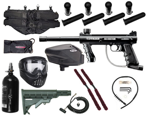 Gun Package Kit - Tippmann 98 Platinum w/ 4+1 Harness, 48 ci 3000 psi HPA Tank, GxG Mask & Remote Line, Stock, & Invert Too