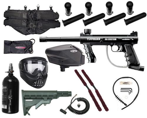 Gun Package Kit - Tippmann 98 Platinum w/ 4+1 Harness, 48 ci 3000 psi HPA Tank, GxG Mask & Remote Line, Stock, & Invert Too