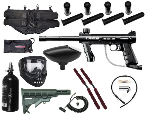 Gun Package Kit - Tippmann 98 Platinum w/ 4+1 Harness, 48 ci 3000 psi HPA Tank, GxG Mask & Remote Line & Stock