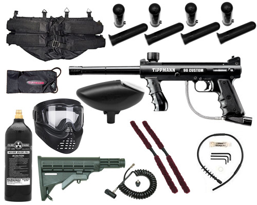 Gun Package Kit - Tippmann 98 Platinum w/ 4+1 Harness, 20oz CO2 Tank, GxG Mask & Remote Line & Stock