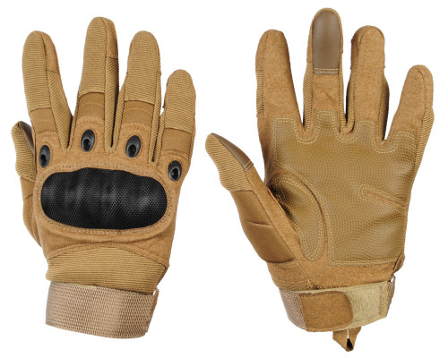 Warrior Full Finger Carbon Knuckle Gloves - Tan
