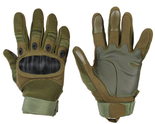 Warrior Full Finger Carbon Knuckle Gloves - Olive