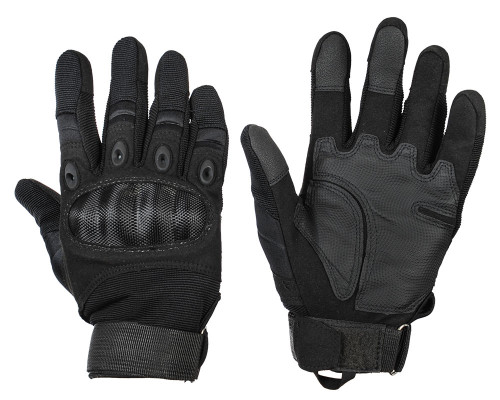 Warrior Full Finger Carbon Knuckle Gloves - Black