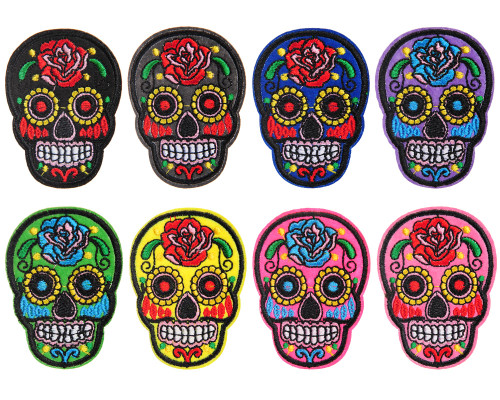 Warrior Iron On Patch - Embroidered - Sugar Skull (8 Pack)