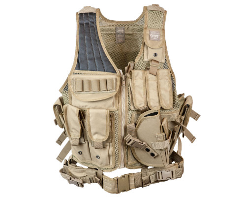 Valken Tactical Airsoft Vest w/ Crossdraw Pistol Holster (Adult)