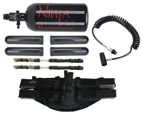 Paintball Online Player's Kit - 4+1 Harness, On/Off Remote Line, 47/3000 HPA Tank