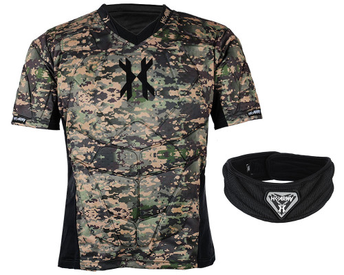 HK Army Crash Padded Chest Protection w/ Free Black HSTL Neck Protection - Camo