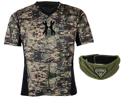 HK Army Crash Padded Chest Protection w/ Free Olive HSTL Neck Protection - Camo